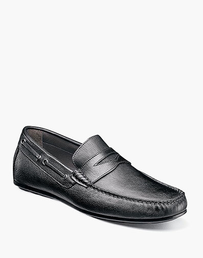 Otello  Moc Toe Penny Loafer in Black for $175.00