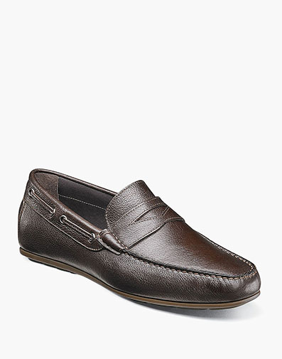 Otello  Moc Toe Penny Loafer in Brown for $175.00