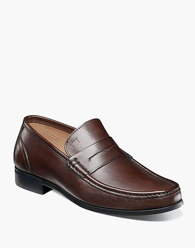 Puente Moc Toe Penny Loafer in Brown for 175.00 dollars.