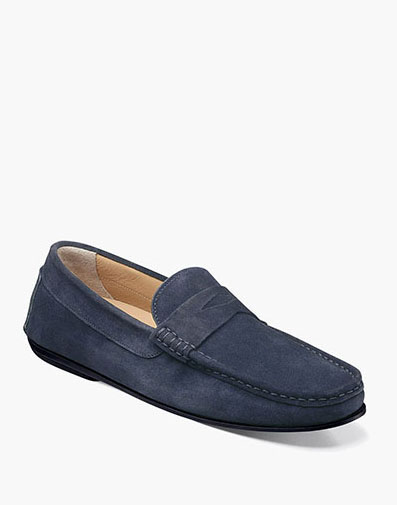 Fuego Moc Toe Penny Loafer in Navy Suede for $175.00