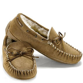 Stormy Night Moc Toe Slippers in Tan Suede for $29.90