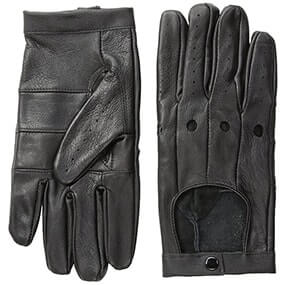 Lined Driving Gloves Genuine Leather  in Black for $36.00