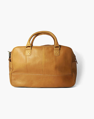 Adelmo Leather Duffle Bag in Tan for $350.00