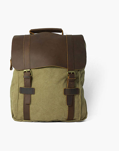 Benito Canvas/Leather Backpack in Khaki for $120.00