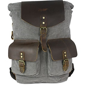 Adorjan Canvas/Leather Backpack in Gray for $100.00