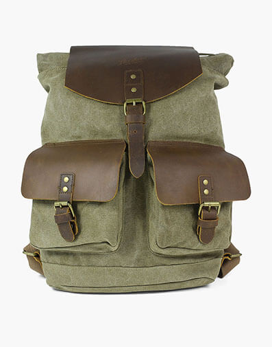 Adorjan Canvas/Leather Backpack in Green for $100.00