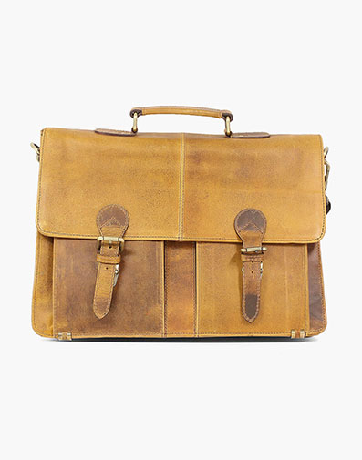 Ceylan  Vintage Leather Portfolio Bag in Brown CH for $325.00