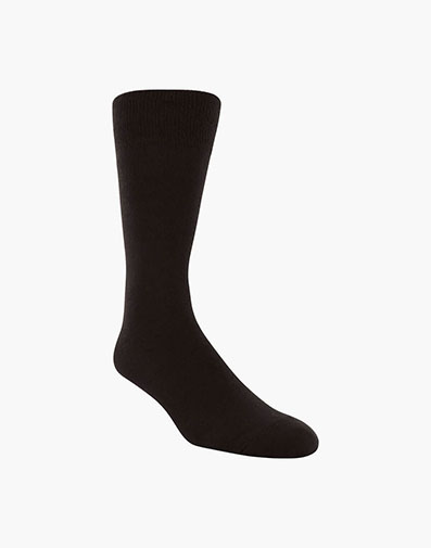 Flat Knit Men's Crew Dress Socks in Black for 9.00 dollars.
