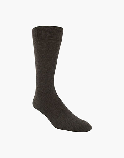 Flat Knit Men's Crew Dress Socks in Chocolate for 9.00 dollars.