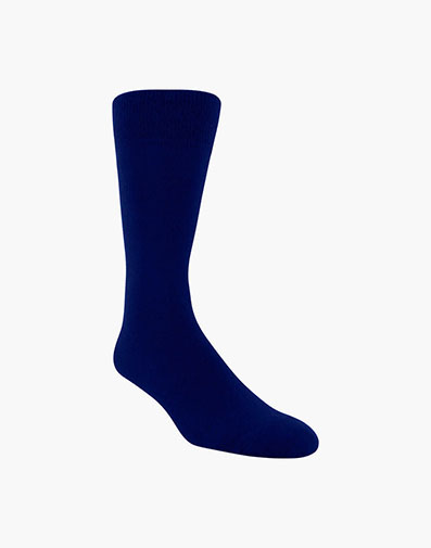 Flat Knit Men's Crew Dress Socks in Navy for 9.00 dollars.