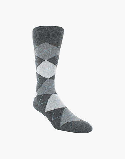 Classic Argyle  Men's Crew Dress Socks in Charcoal for $9.00
