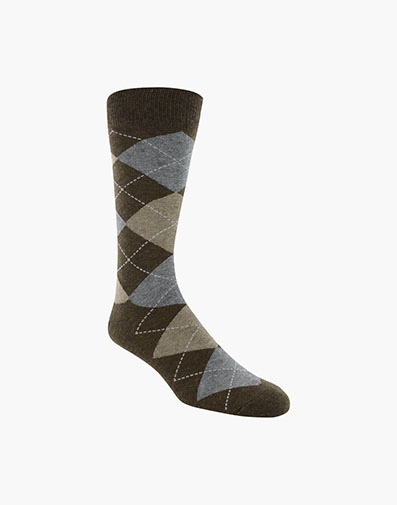 Classic Argyle  Men's Crew Dress Socks in Chocolate for $9.00