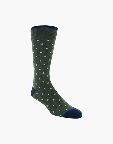 Dots Men's Crew Dress Socks in Dark Green for 9.00 dollars.