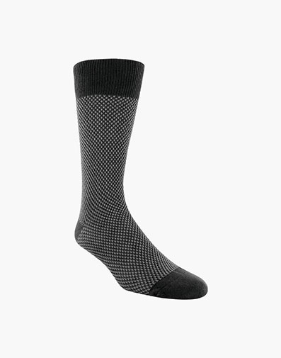 Double Birdseye Men's Crew Dress Socks in Black for 10.00 dollars.