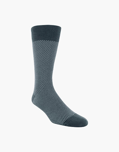 Double Birdseye Men's Crew Dress Socks in Charcoal for 10.00 dollars.