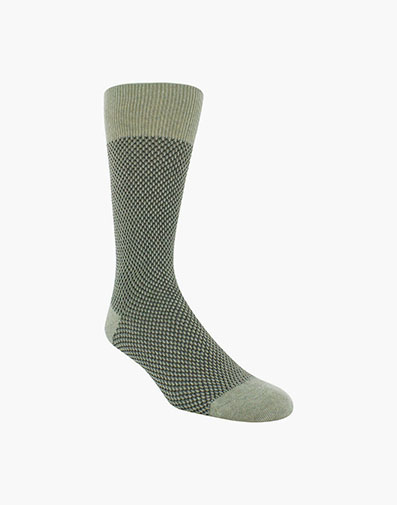 Double Birdseye Men's Crew Dress Socks in Oatmeal for 10.00 dollars.