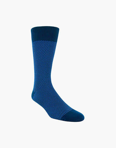 Double Birdseye Men's Crew Dress Socks in Dark Blue for 10.00 dollars.