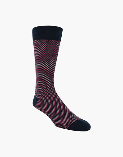 Double Birdseye Men's Crew Dress Socks in Navy for 10.00 dollars.