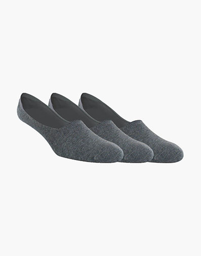 3-Pack Hidden Socks Men's No Show Socks in Gray for 12.00 dollars.