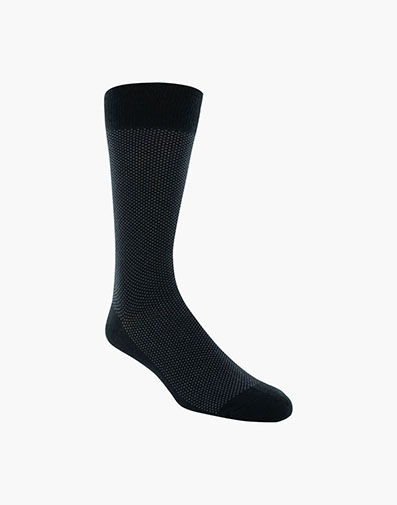 Pindot Classic Men's Crew Dress Socks in Black for 9.00 dollars.