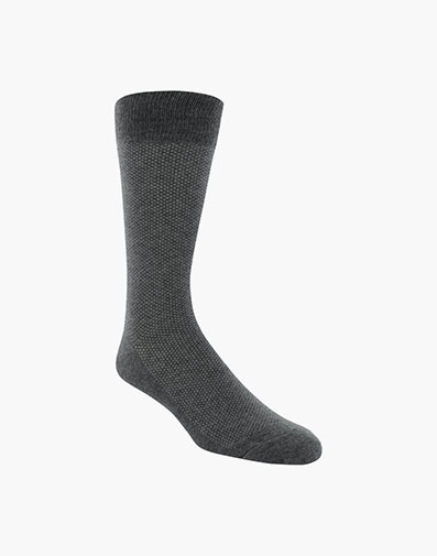Pindot Classic Men's Crew Dress Socks in Charcoal for 9.00 dollars.