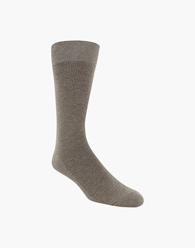 Pindot Classic Men's Crew Dress Socks in Sand for 9.00 dollars.
