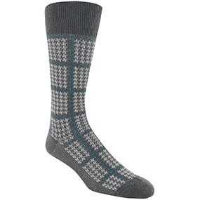Houndstooth Windowpane Men's Crew Dress Socks in Charcoal for $9.00