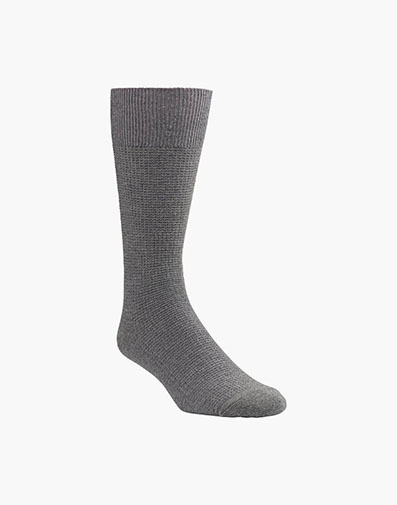 Waffle Knit Men's Crew Dress Socks in Gray for 9.00 dollars.