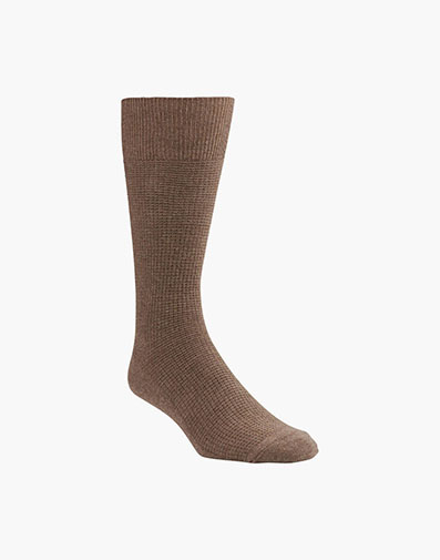 Waffle Knit Men's Crew Dress Socks in Sand for 9.00 dollars.