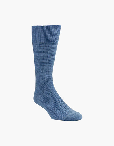 Waffle Knit Men's Crew Dress Socks in Denim for 9.00 dollars.