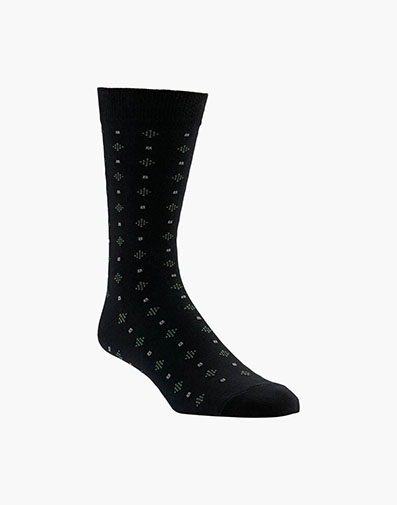 Diamond Dobby Men's Crew Dress Socks in Black for 9.00 dollars.