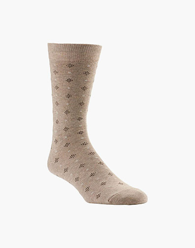 Diamond Dobby Men's Crew Dress Socks in Oatmeal for 9.00 dollars.
