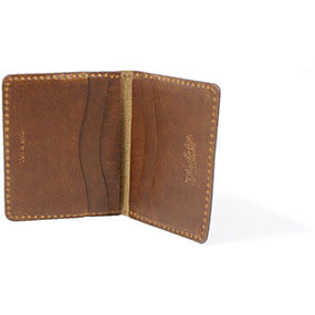 Minimal Bifold Wallet Made in USA in Cognac for $80.00