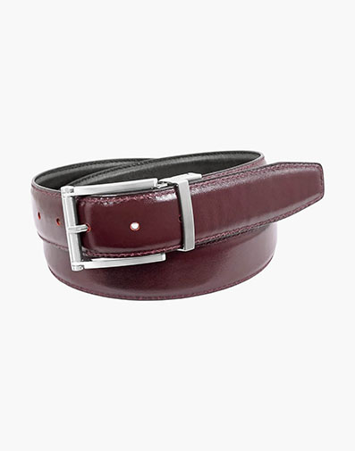 Lofton Reversible Belt in Burgundy for 65.00 dollars.
