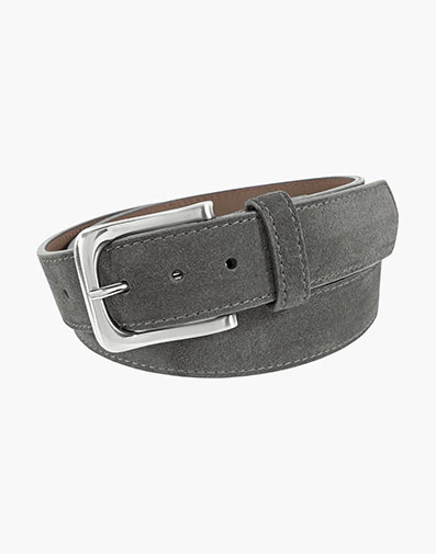Ramirez Genuine Suede Belt in Gray for 55.00 dollars.