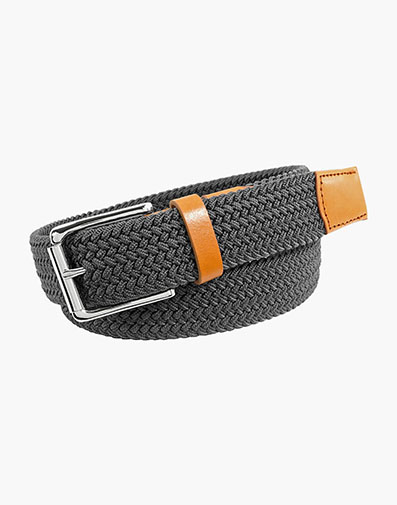Koufax Woven Elastic Belt in Gray for 38.00 dollars.