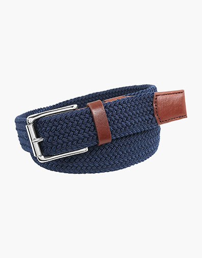 Koufax Woven Elastic Belt in Navy for 38.00 dollars.