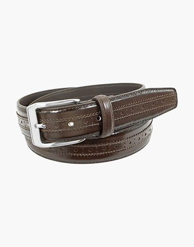 Boselli Center Brogue Belt in Brown for $44.00