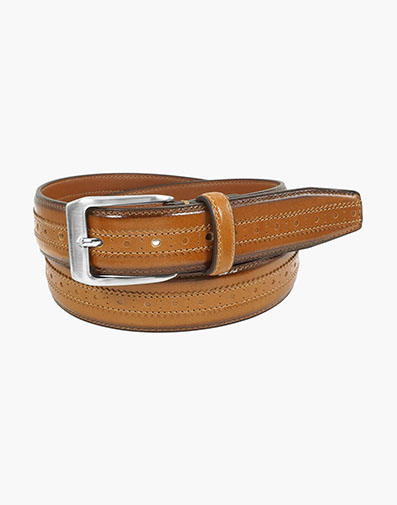 Boselli Center Brogue Belt in Cognac for $44.00