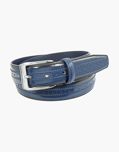Boselli Center Brogue Belt in Navy for $44.00