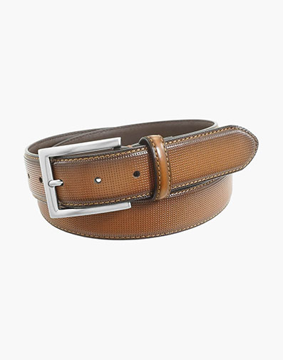 Sinclair Perf Leather Belt in Cognac for 42.00 dollars.