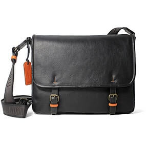 Lorenzo Leather Messenger in Black for $275.00