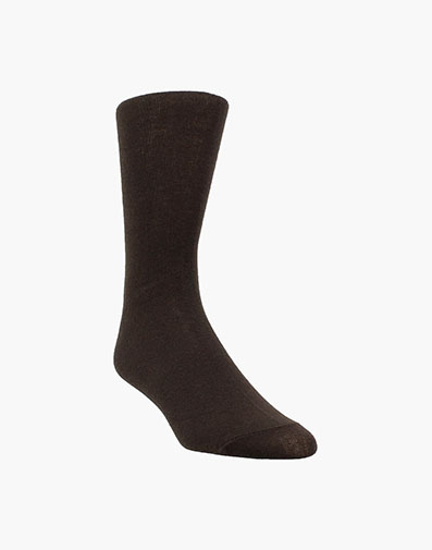 Plain Men's Crew Dress Socks in Brown for 9.00 dollars.