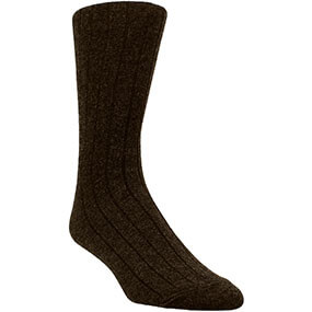 Classic Ribbed Men's Crew Dress Socks in Brown for $9.00